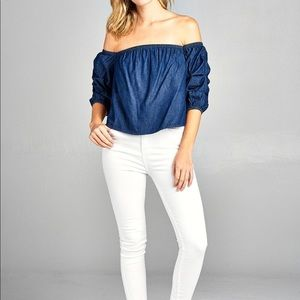 Tops - Chambray Off the Shoulder Blouse